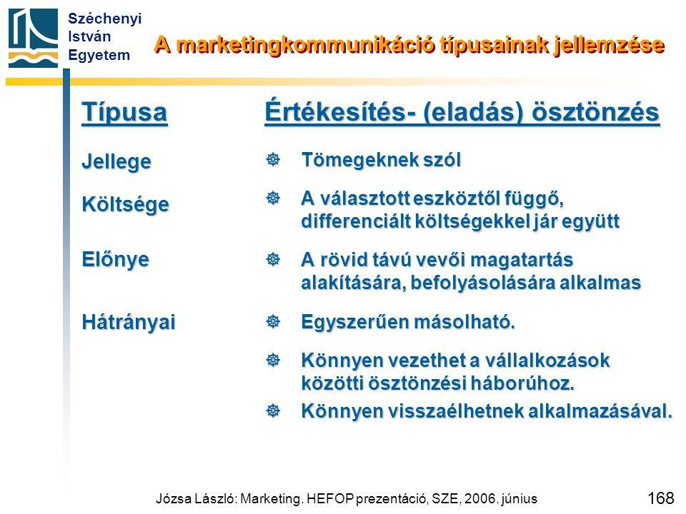 Széchenyi István Egyetem Józsa László: Marketing. HEFOP prezentáció, SZE, 2006. június 168 A marketingkommunikáció típusainak jellemzése TípusaJellege