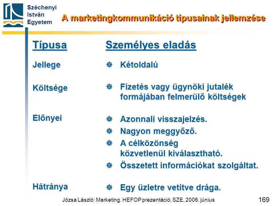 Széchenyi István Egyetem Józsa László: Marketing. HEFOP prezentáció, SZE, 2006. június 169 A marketingkommunikáció típusainak jellemzése TípusaJellege