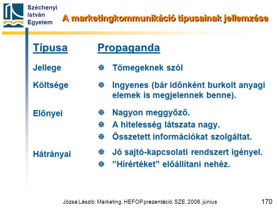 Széchenyi István Egyetem Józsa László: Marketing. HEFOP prezentáció, SZE, 2006. június 170 A marketingkommunikáció típusainak jellemzése TípusaJellege