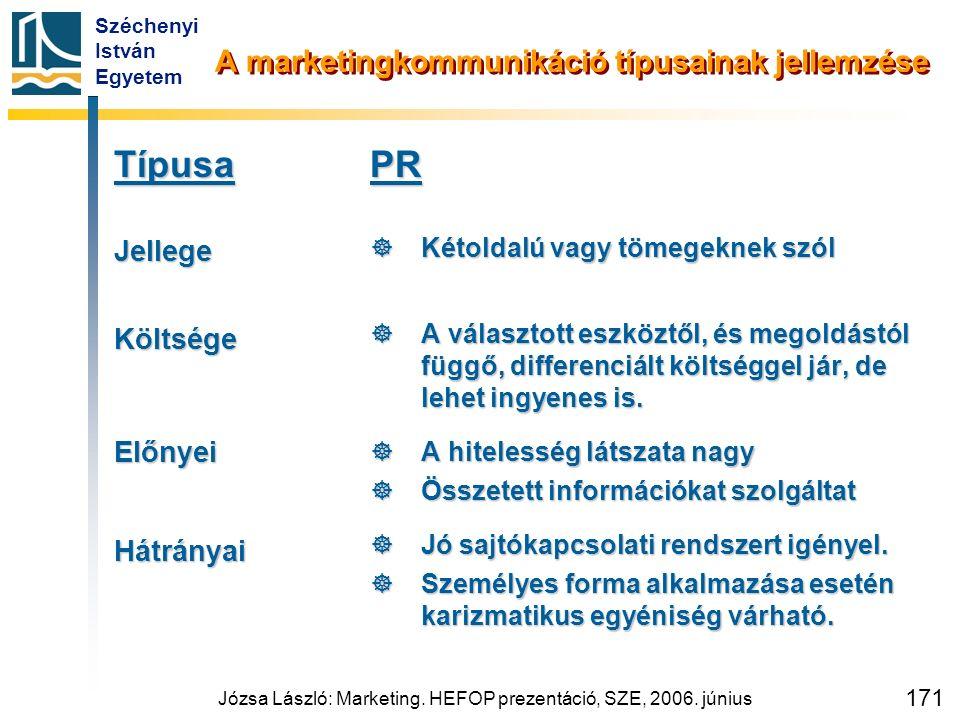 Széchenyi István Egyetem Józsa László: Marketing. HEFOP prezentáció, SZE, 2006. június 171 A marketingkommunikáció típusainak jellemzése TípusaJellege