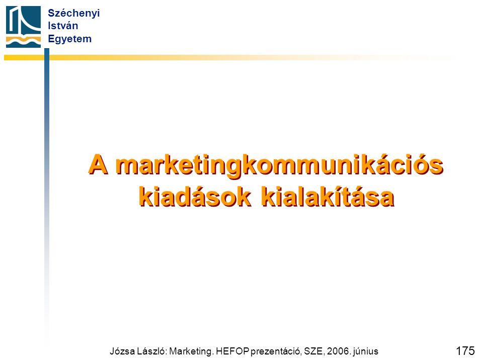 Széchenyi István Egyetem Józsa László: Marketing. HEFOP prezentáció, SZE, 2006. június 175 A marketingkommunikációs kiadások kialakítása