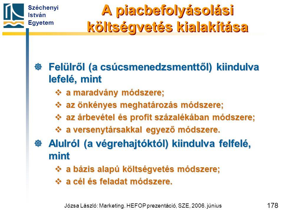Széchenyi István Egyetem Józsa László: Marketing. HEFOP prezentáció, SZE, 2006. június 178 A piacbefolyásolási költségvetés kialakítása  Felülről (a
