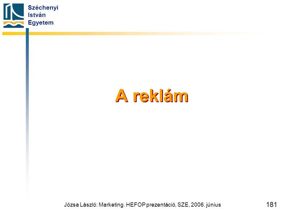 Széchenyi István Egyetem Józsa László: Marketing. HEFOP prezentáció, SZE, 2006. június 181 A reklám