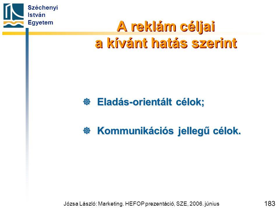 Széchenyi István Egyetem Józsa László: Marketing. HEFOP prezentáció, SZE, 2006. június 183 A reklám céljai a kívánt hatás szerint  Eladás-orientált c