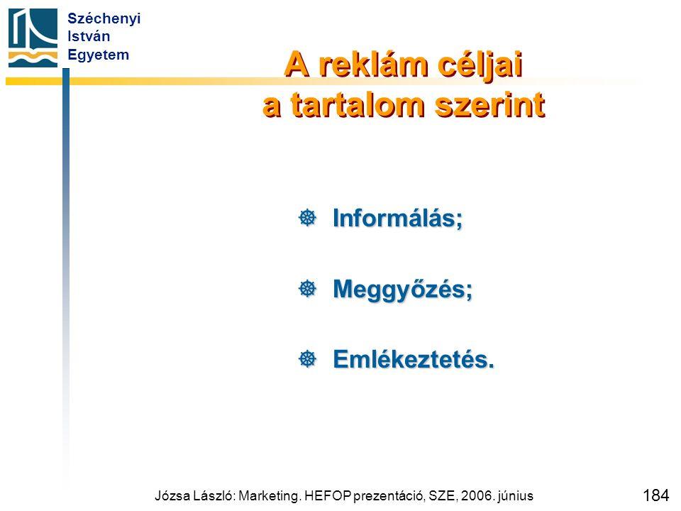 Széchenyi István Egyetem Józsa László: Marketing. HEFOP prezentáció, SZE, 2006. június 184 A reklám céljai a tartalom szerint  Informálás;  Meggyőzé