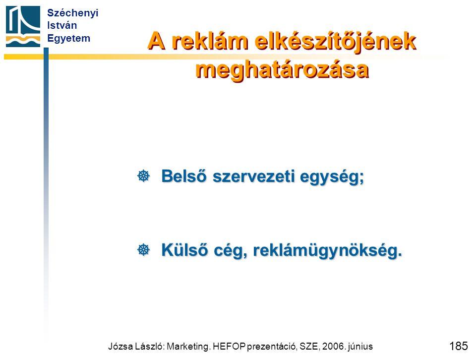 Széchenyi István Egyetem Józsa László: Marketing. HEFOP prezentáció, SZE, 2006. június 185 A reklám elkészítőjének meghatározása  Belső szervezeti eg