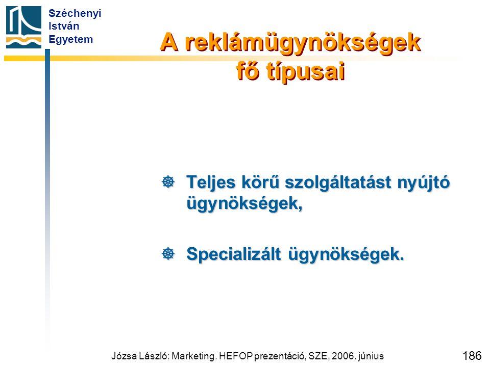 Széchenyi István Egyetem Józsa László: Marketing. HEFOP prezentáció, SZE, 2006. június 186 A reklámügynökségek fő típusai  Teljes körű szolgáltatást