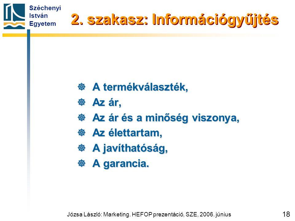 Széchenyi István Egyetem Józsa László: Marketing. HEFOP prezentáció, SZE, 2006. június 18 2. szakasz: Információgyűjtés  A termékválaszték,  Az ár,