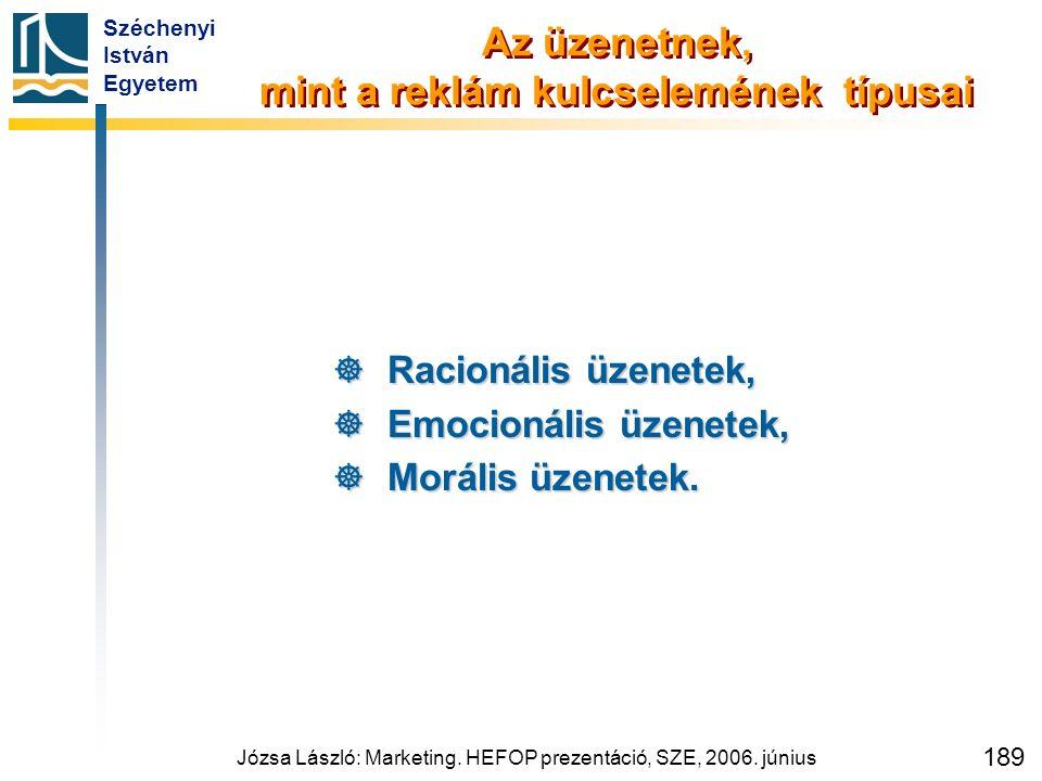 Széchenyi István Egyetem Józsa László: Marketing. HEFOP prezentáció, SZE, 2006. június 189 Az üzenetnek, mint a reklám kulcselemének típusai  Racioná
