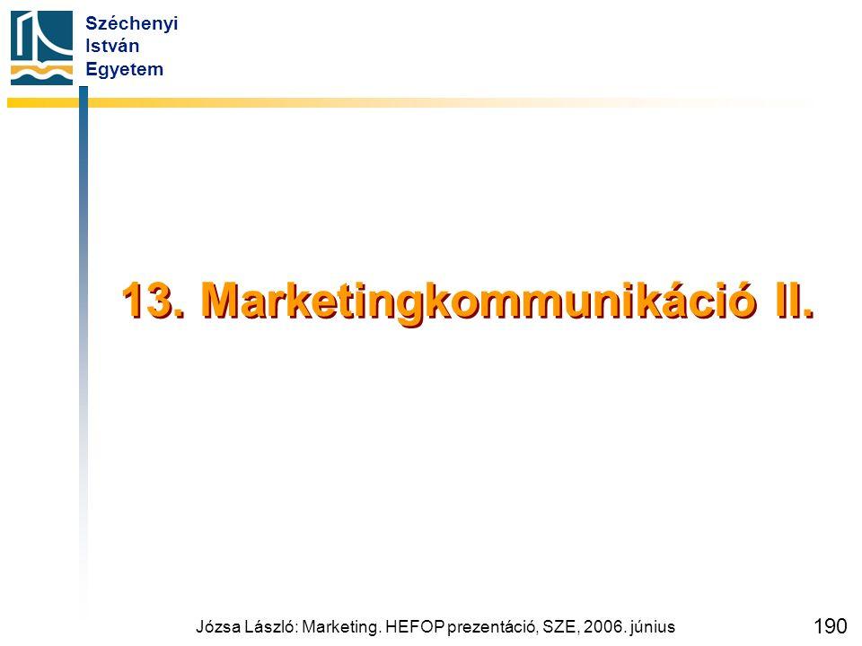 Széchenyi István Egyetem Józsa László: Marketing. HEFOP prezentáció, SZE, 2006. június 190 13. Marketingkommunikáció II.