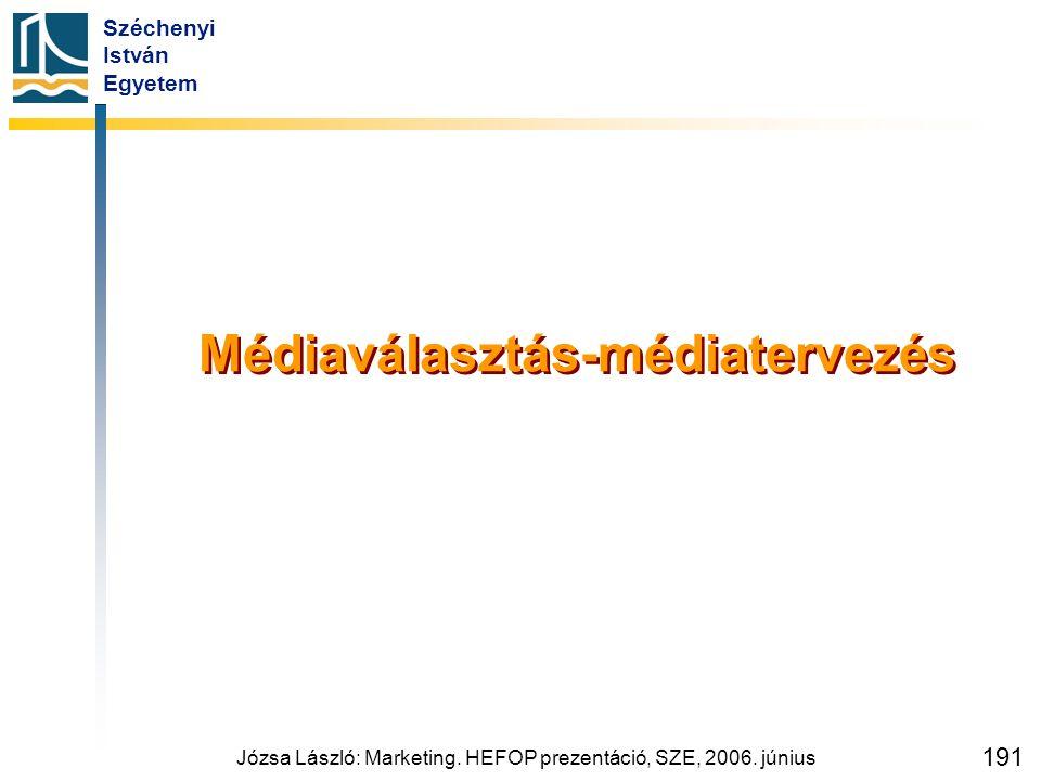 Széchenyi István Egyetem Józsa László: Marketing. HEFOP prezentáció, SZE, 2006. június 191 Médiaválasztás-médiatervezés
