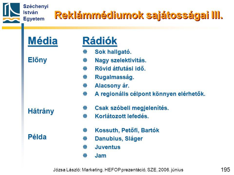 Széchenyi István Egyetem Józsa László: Marketing. HEFOP prezentáció, SZE, 2006. június 195 Reklámmédiumok sajátosságai III. MédiaElőnyHátrányPéldaRádi