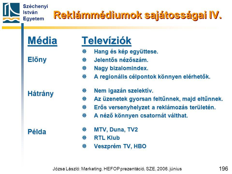 Széchenyi István Egyetem Józsa László: Marketing. HEFOP prezentáció, SZE, 2006. június 196 Reklámmédiumok sajátosságai IV. MédiaElőnyHátrányPéldaTelev