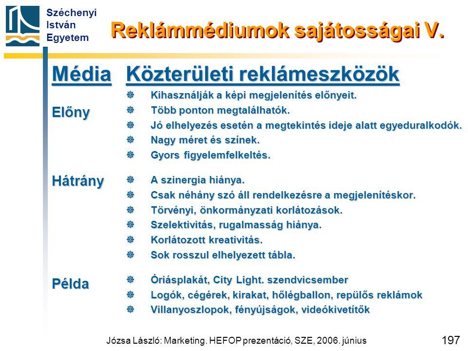 Széchenyi István Egyetem Józsa László: Marketing. HEFOP prezentáció, SZE, 2006. június 197 Reklámmédiumok sajátosságai V. MédiaElőnyHátrányPélda Közte