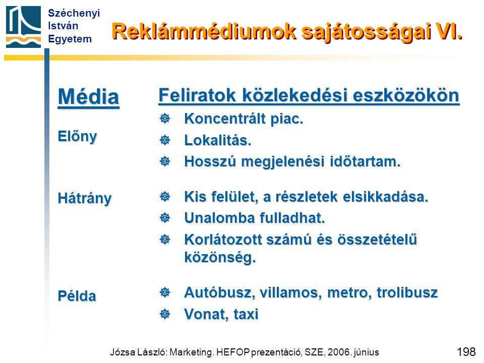 Széchenyi István Egyetem Józsa László: Marketing. HEFOP prezentáció, SZE, 2006. június 198 Reklámmédiumok sajátosságai VI. MédiaElőnyHátrányPélda Feli