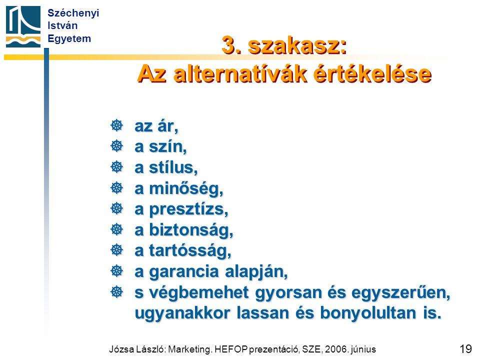 Széchenyi István Egyetem Józsa László: Marketing. HEFOP prezentáció, SZE, 2006. június 19 3. szakasz: Az alternatívák értékelése  az ár,  a szín, 
