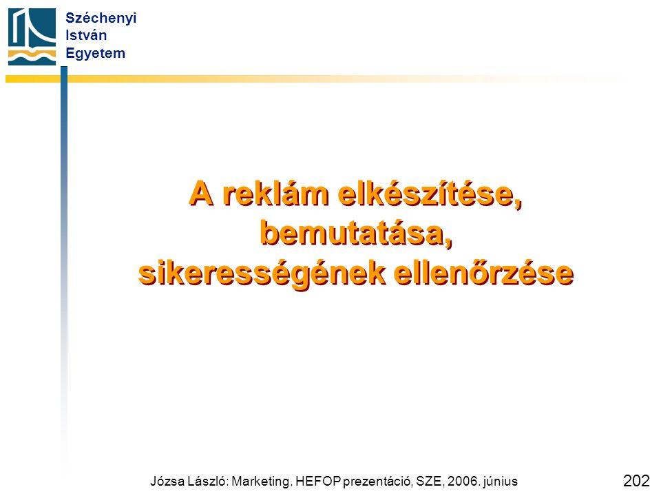 Széchenyi István Egyetem Józsa László: Marketing. HEFOP prezentáció, SZE, 2006. június 202 A reklám elkészítése, bemutatása, sikerességének ellenőrzés