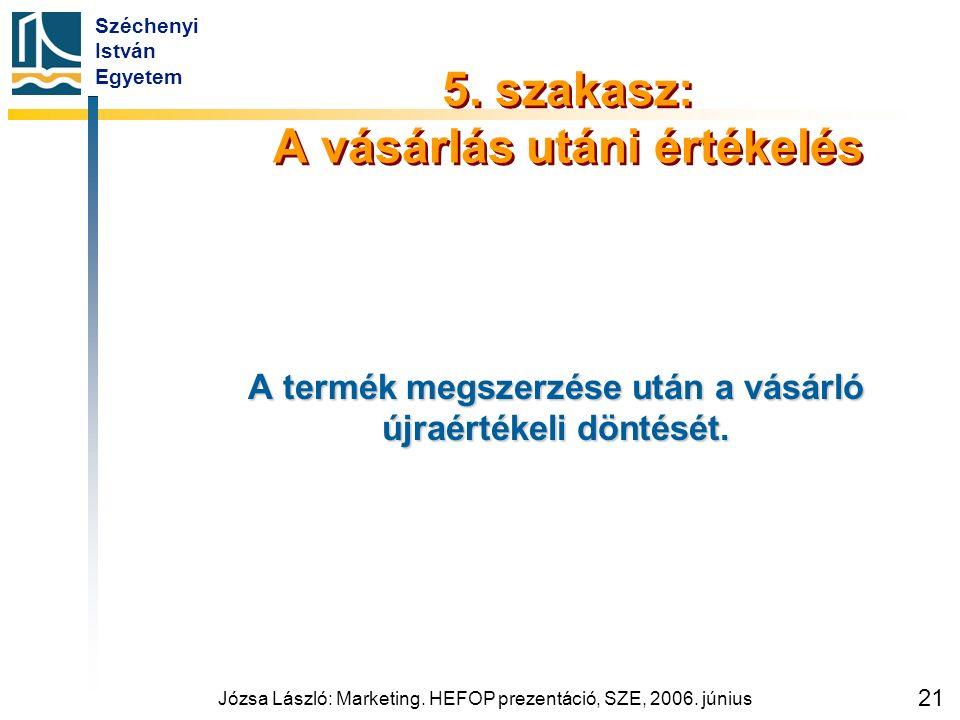 Széchenyi István Egyetem Józsa László: Marketing. HEFOP prezentáció, SZE, 2006. június 21 5. szakasz: A vásárlás utáni értékelés A termék megszerzése