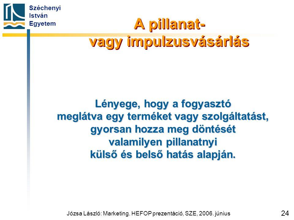 Széchenyi István Egyetem Józsa László: Marketing. HEFOP prezentáció, SZE, 2006. június 24 A pillanat- vagy impulzusvásárlás Lényege, hogy a fogyasztó
