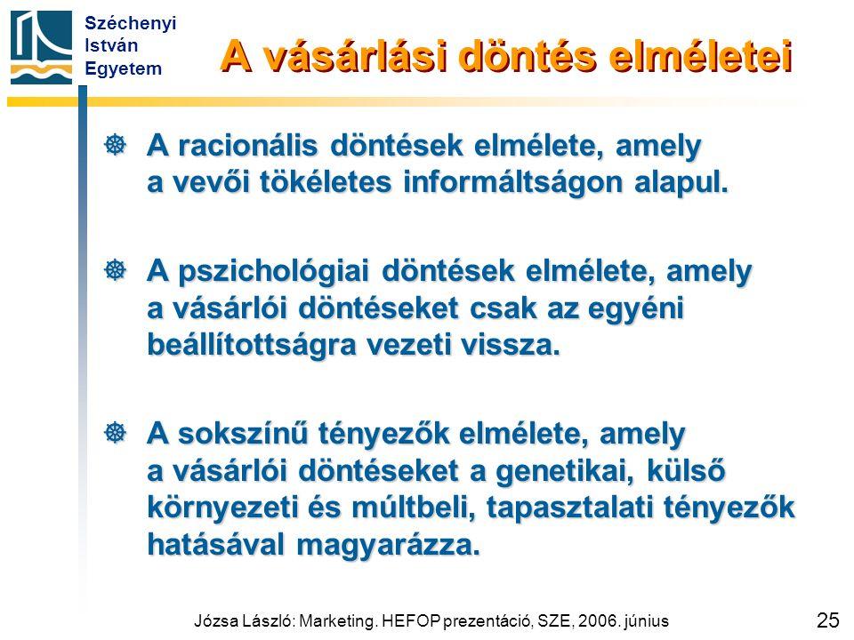 Széchenyi István Egyetem Józsa László: Marketing. HEFOP prezentáció, SZE, 2006. június 25 A vásárlási döntés elméletei  A racionális döntések elmélet