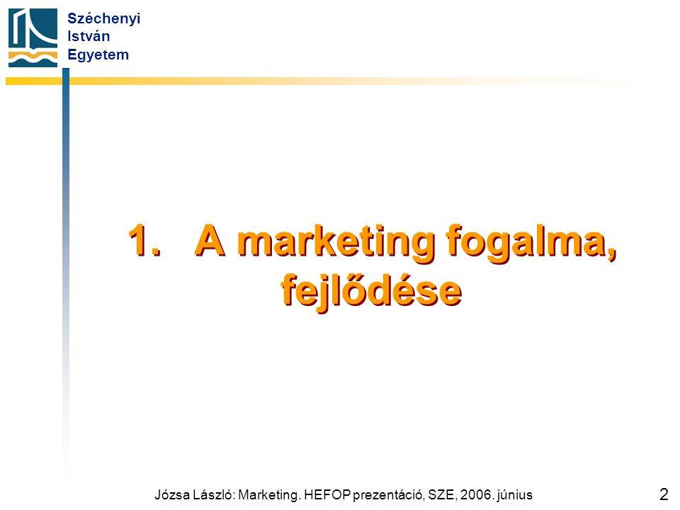 Széchenyi István Egyetem Józsa László: Marketing. HEFOP prezentáció, SZE, 2006. június 2 1.A marketing fogalma, fejlődése