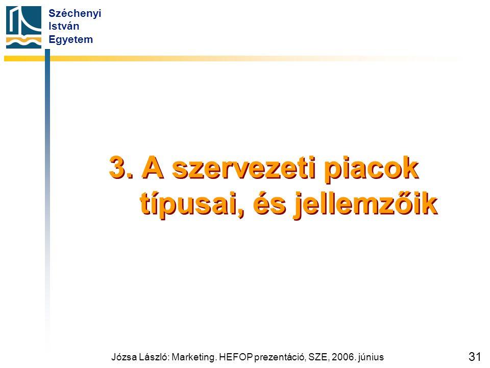 Széchenyi István Egyetem Józsa László: Marketing. HEFOP prezentáció, SZE, 2006. június 31 3. A szervezeti piacok típusai, és jellemzőik