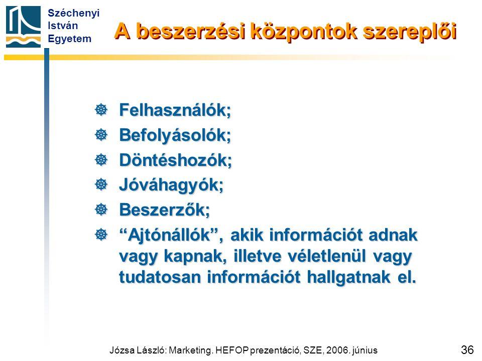 Széchenyi István Egyetem Józsa László: Marketing. HEFOP prezentáció, SZE, 2006. június 36 A beszerzési központok szereplői  Felhasználók;  Befolyáso