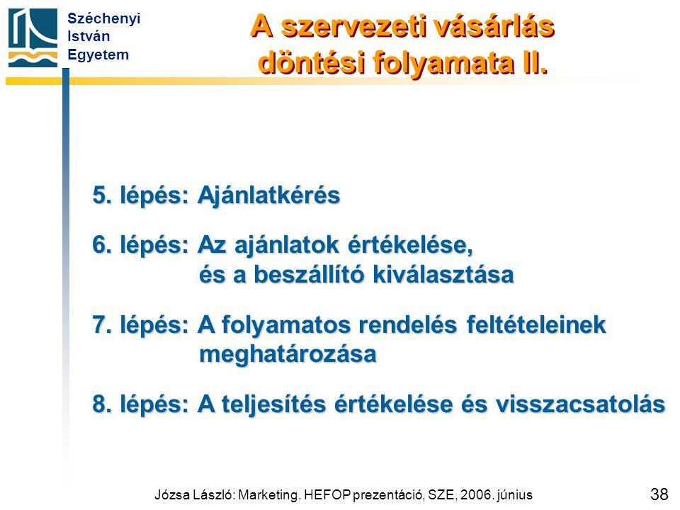 Széchenyi István Egyetem Józsa László: Marketing. HEFOP prezentáció, SZE, 2006. június 38 A szervezeti vásárlás döntési folyamata II. 5. lépés: Ajánla