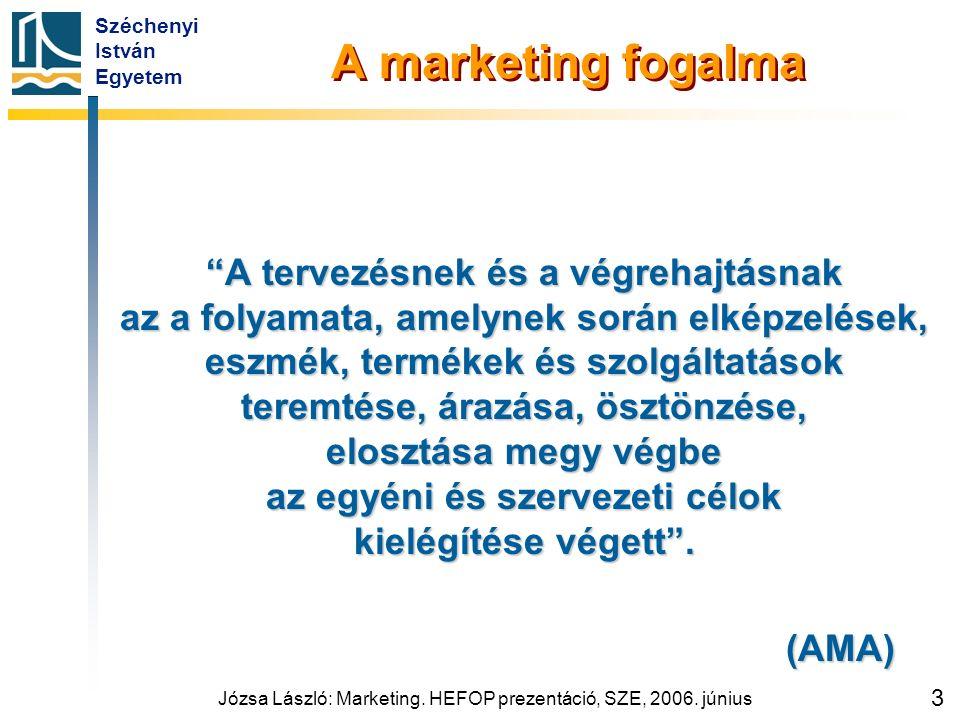"""Széchenyi István Egyetem Józsa László: Marketing. HEFOP prezentáció, SZE, 2006. június 3 A marketing fogalma """"A tervezésnek és a végrehajtásnak az a f"""