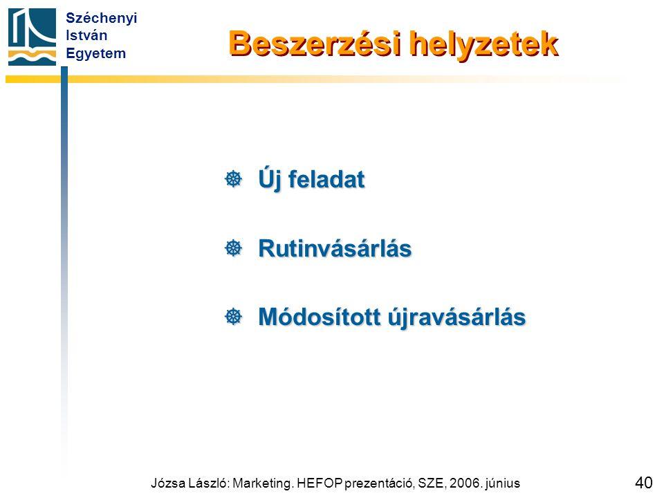 Széchenyi István Egyetem Józsa László: Marketing. HEFOP prezentáció, SZE, 2006. június 40 Beszerzési helyzetek  Új feladat  Rutinvásárlás  Módosíto