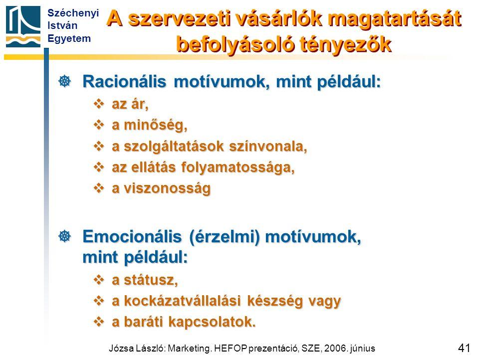 Széchenyi István Egyetem Józsa László: Marketing. HEFOP prezentáció, SZE, 2006. június 41 A szervezeti vásárlók magatartását befolyásoló tényezők  Ra