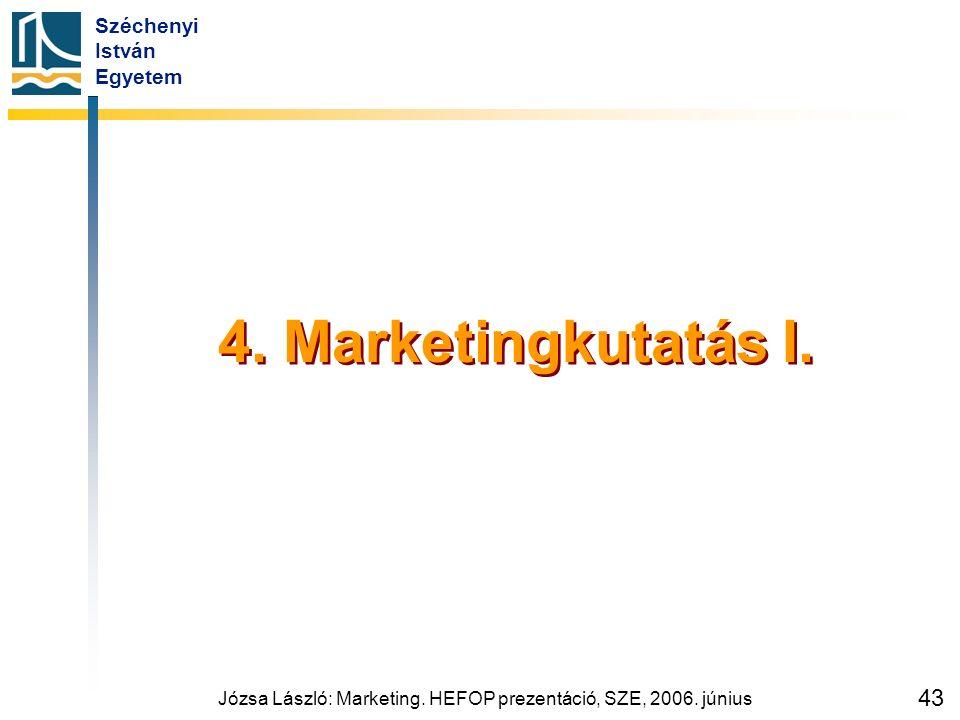 Széchenyi István Egyetem Józsa László: Marketing. HEFOP prezentáció, SZE, 2006. június 43 4. Marketingkutatás I.