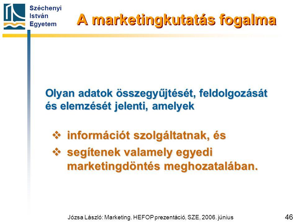 Széchenyi István Egyetem Józsa László: Marketing. HEFOP prezentáció, SZE, 2006. június 46 A marketingkutatás fogalma Olyan adatok összegyűjtését, feld