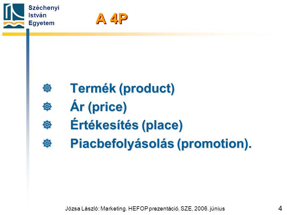 Széchenyi István Egyetem Józsa László: Marketing. HEFOP prezentáció, SZE, 2006. június 4 A 4P  Termék (product)  Ár (price)  Értékesítés (place) 