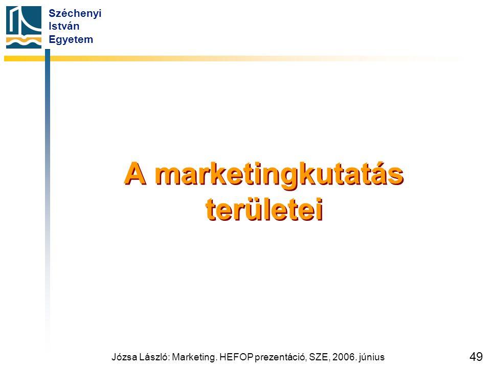 Széchenyi István Egyetem Józsa László: Marketing. HEFOP prezentáció, SZE, 2006. június 49 A marketingkutatás területei