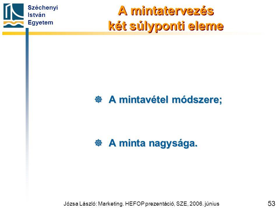 Széchenyi István Egyetem Józsa László: Marketing. HEFOP prezentáció, SZE, 2006. június 53 A mintatervezés két súlyponti eleme  A mintavétel módszere;