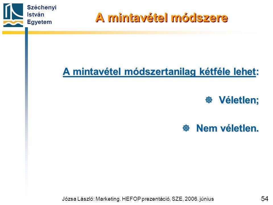 Széchenyi István Egyetem Józsa László: Marketing. HEFOP prezentáció, SZE, 2006. június 54 A mintavétel módszere A mintavétel módszertanilag kétféle le