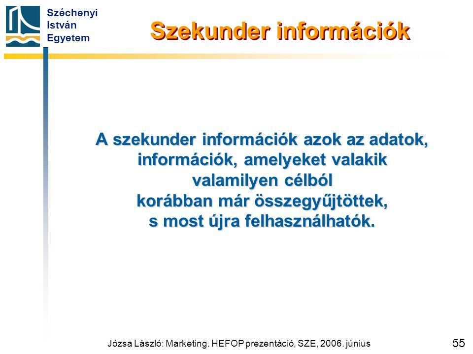 Széchenyi István Egyetem Józsa László: Marketing. HEFOP prezentáció, SZE, 2006. június 55 Szekunder információk A szekunder információk azok az adatok
