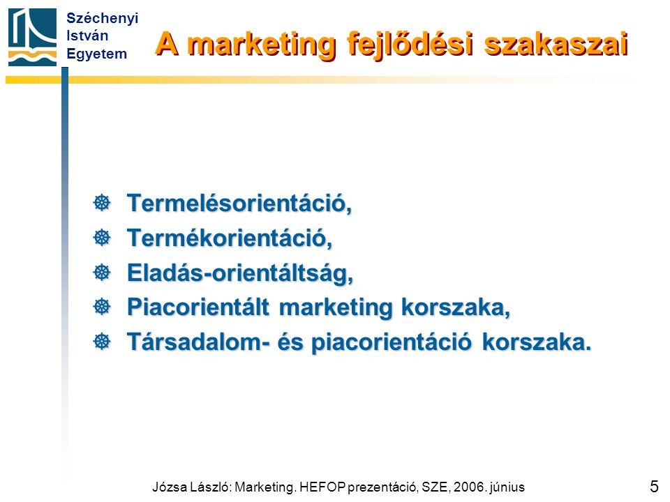 Széchenyi István Egyetem Józsa László: Marketing. HEFOP prezentáció, SZE, 2006. június 5 A marketing fejlődési szakaszai  Termelésorientáció,  Termé