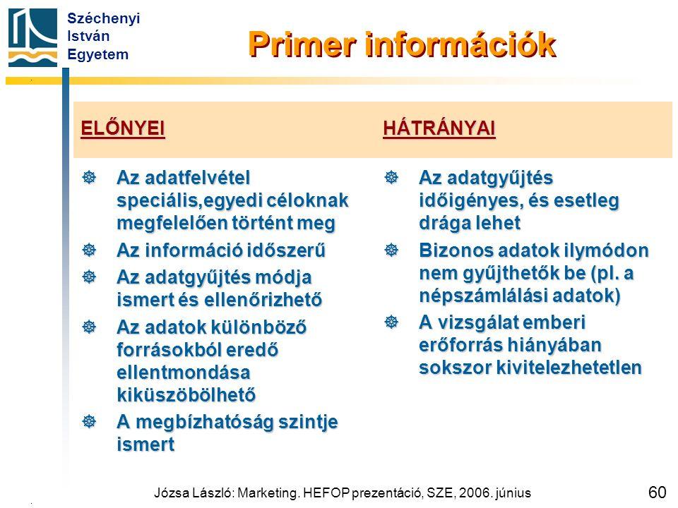 Széchenyi István Egyetem Józsa László: Marketing. HEFOP prezentáció, SZE, 2006. június 60 Primer információk ELŐNYEI  Az adatfelvétel speciális,egyed