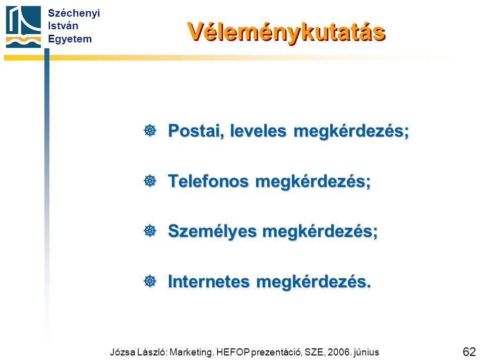 Széchenyi István Egyetem Józsa László: Marketing. HEFOP prezentáció, SZE, 2006. június 62 Véleménykutatás  Postai, leveles megkérdezés;  Telefonos m