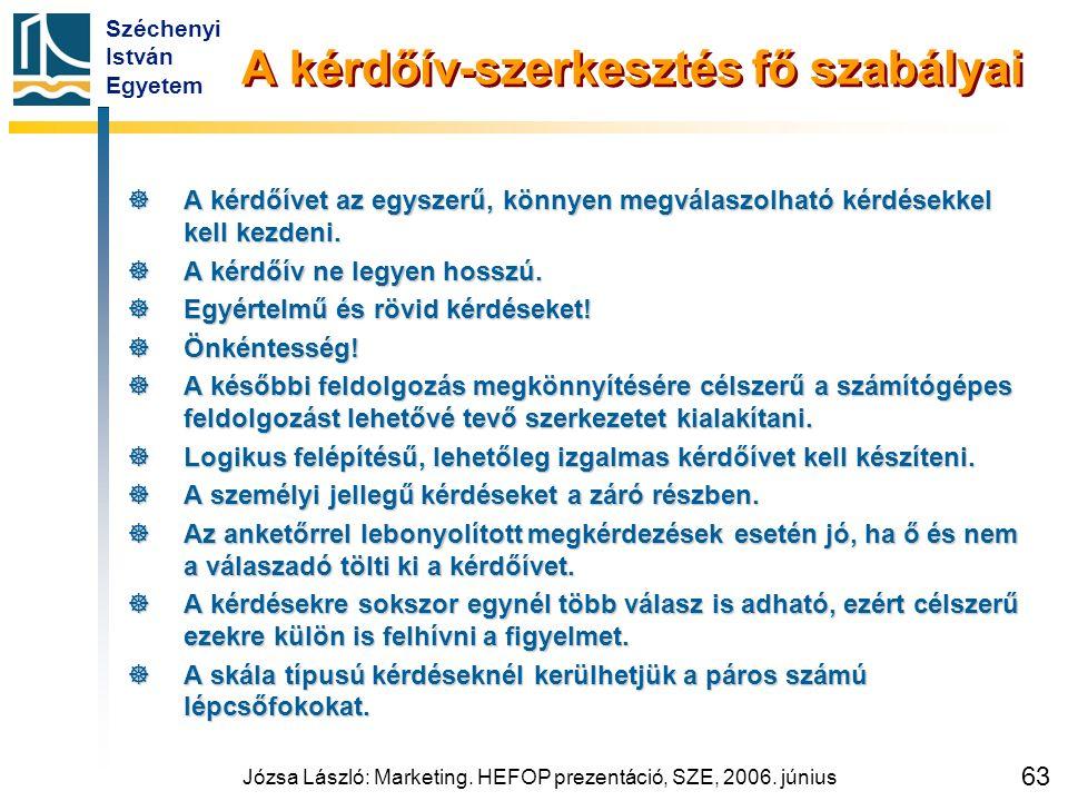 Széchenyi István Egyetem Józsa László: Marketing. HEFOP prezentáció, SZE, 2006. június 63 A kérdőív-szerkesztés fő szabályai  A kérdőívet az egyszerű