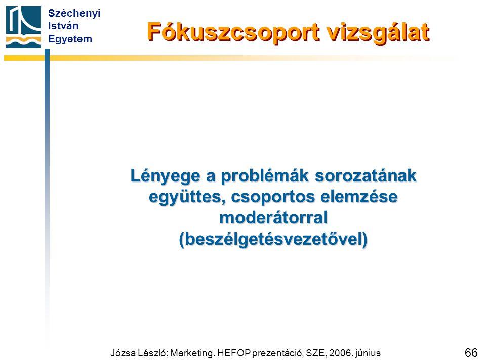 Széchenyi István Egyetem Józsa László: Marketing. HEFOP prezentáció, SZE, 2006. június 66 Fókuszcsoport vizsgálat Lényege a problémák sorozatának együ