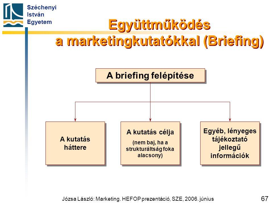 Széchenyi István Egyetem Józsa László: Marketing. HEFOP prezentáció, SZE, 2006. június 67 Együttműködés a marketingkutatókkal (Briefing) A briefing fe