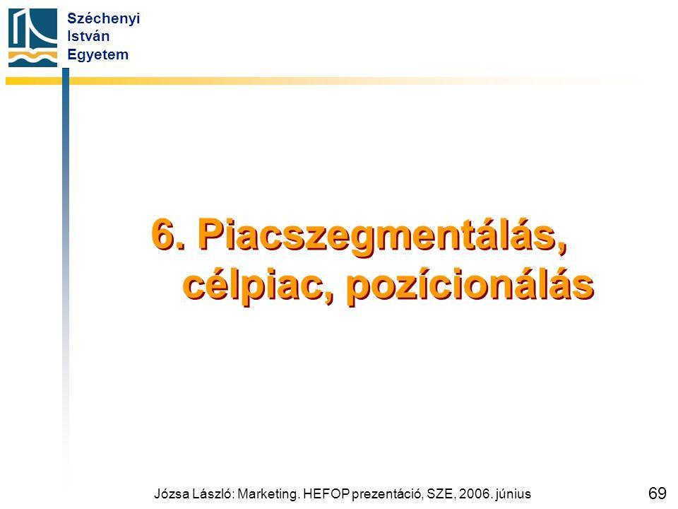 Széchenyi István Egyetem Józsa László: Marketing. HEFOP prezentáció, SZE, 2006. június 69 6. Piacszegmentálás, célpiac, pozícionálás