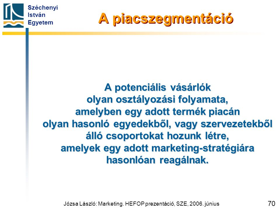 Széchenyi István Egyetem Józsa László: Marketing. HEFOP prezentáció, SZE, 2006. június 70 A piacszegmentáció A potenciális vásárlók olyan osztályozási