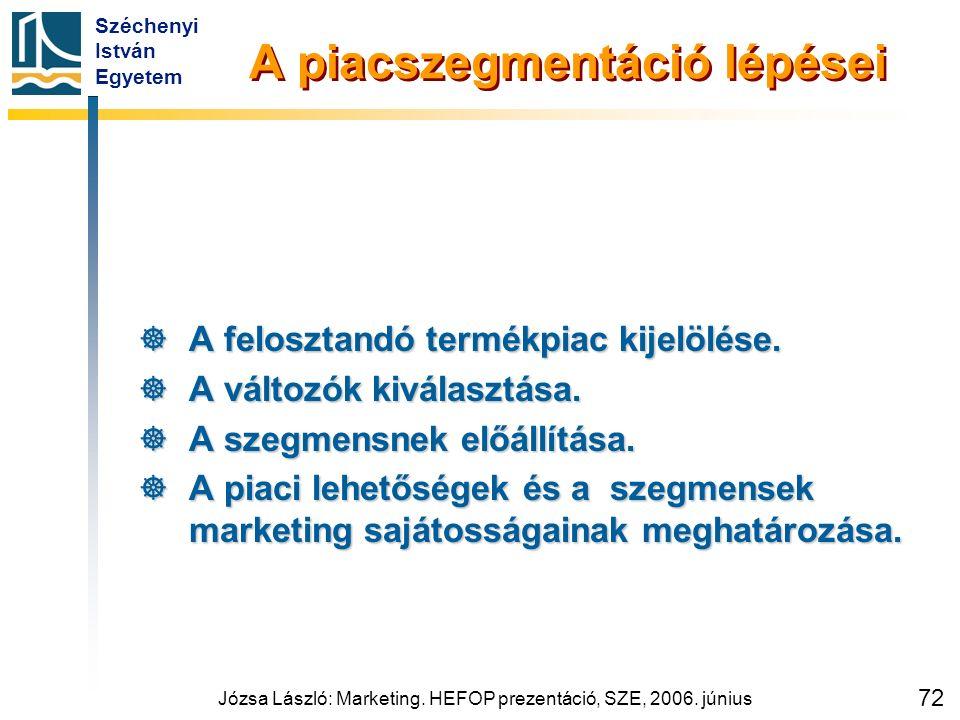 Széchenyi István Egyetem Józsa László: Marketing. HEFOP prezentáció, SZE, 2006. június 72 A piacszegmentáció lépései  A felosztandó termékpiac kijelö