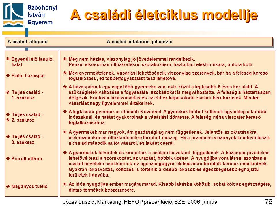 Széchenyi István Egyetem Józsa László: Marketing. HEFOP prezentáció, SZE, 2006. június 76   Egyedül élő tanuló, fiatal   Fiatal házaspár   Telje