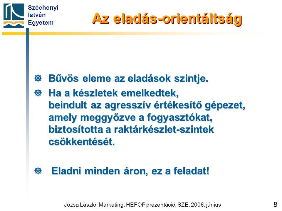 Széchenyi István Egyetem Józsa László: Marketing. HEFOP prezentáció, SZE, 2006. június 8 Az eladás-orientáltság  Bűvös eleme az eladások szintje.  H