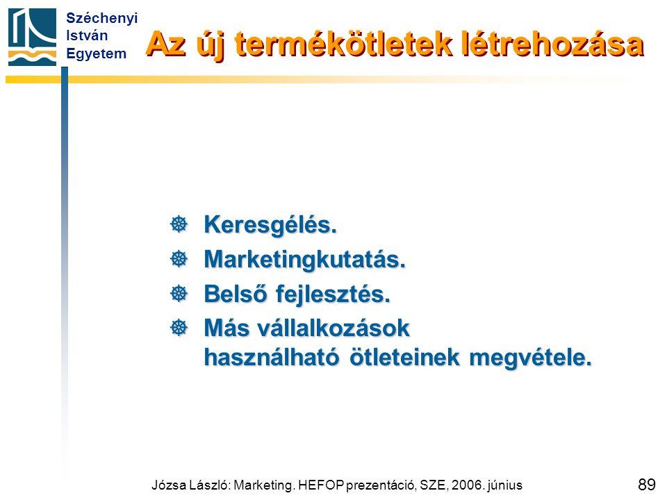 Széchenyi István Egyetem Józsa László: Marketing. HEFOP prezentáció, SZE, 2006. június 89 Az új termékötletek létrehozása  Keresgélés.  Marketingkut